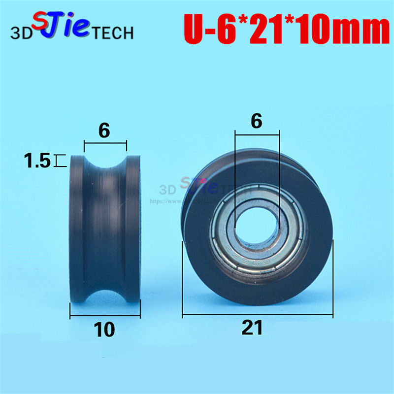 Lovely 10pcs 6*21*10mm U Grooved Nylon Wrapped Plastic Injection Plastic Wheel, Inner Groove Embedded 696 Bearing,for Door And Window Excellent In Cushion Effect