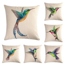 45x45cm Hummingbird Series Linen Pillowcase Animal Watercolor Print Cushion Cover Bird Idyllic Farmhouse Home Accessories