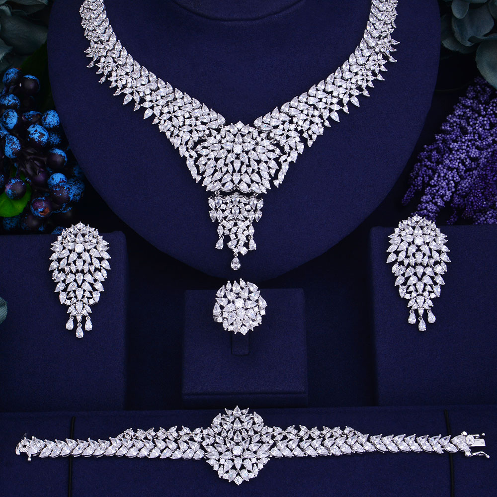 GODKI Promotion Luxury waterdrop Women Nigerian Wedding Naija Bride Cubic Zirconia Necklace Dubai Jewelry Set Jewelry Addiction