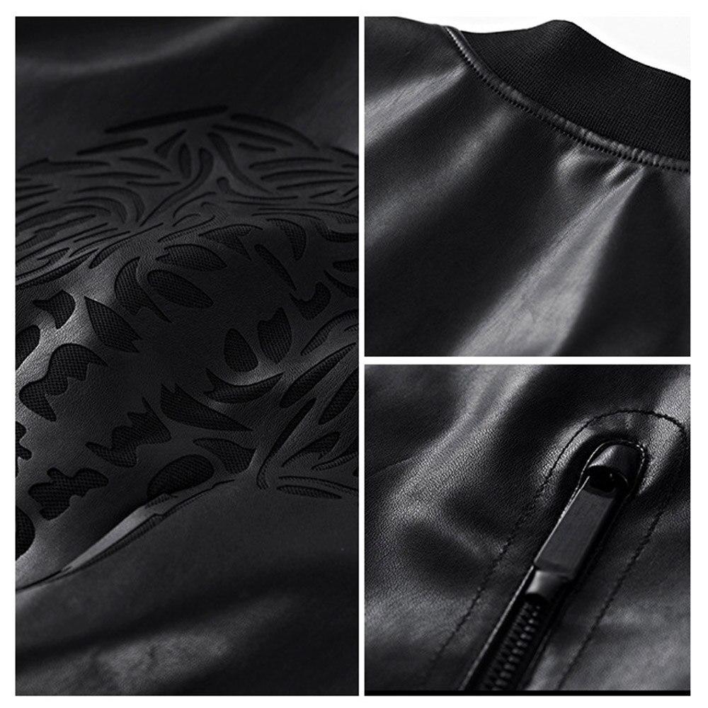 ZOZOWANG 2019 printemps été veste hommes en cuir veste rétro moto veste o-col haute qualité manteau PU cuir grande taille - 2