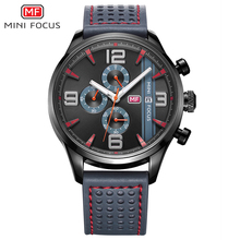 Men Watches Top Brand Luxury Chronograph Leather Casual Quartz Watch Men Military Sport Wrist Watch Male Famous MINI FOCUS Clock