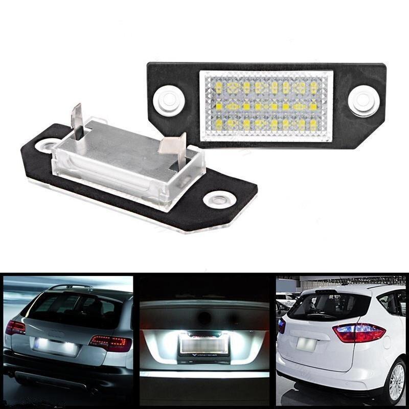 12V 6W White 24 LEDs Number License Plate Light for Ford Focus MK2 C-Max - 2pcs
