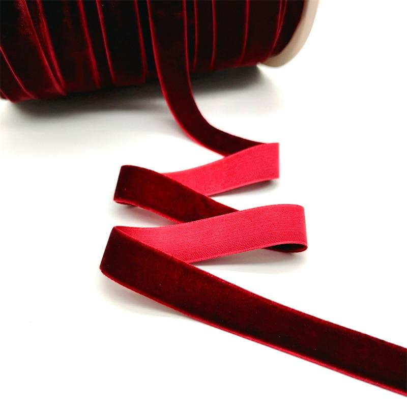 5 ярдов 6-25 мм бархатная лента для украшения свадебной вечеринки ручная работа лента для упаковки подарков бантик для волос DIY Рождественская лента - Цвет: Wine Red
