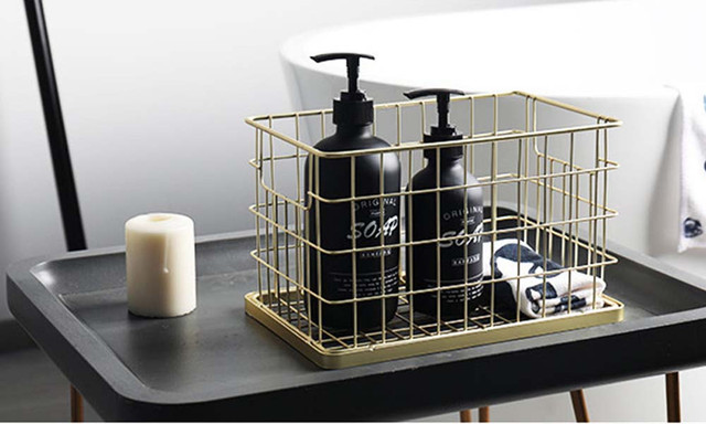 Golden Metal Storage Basket