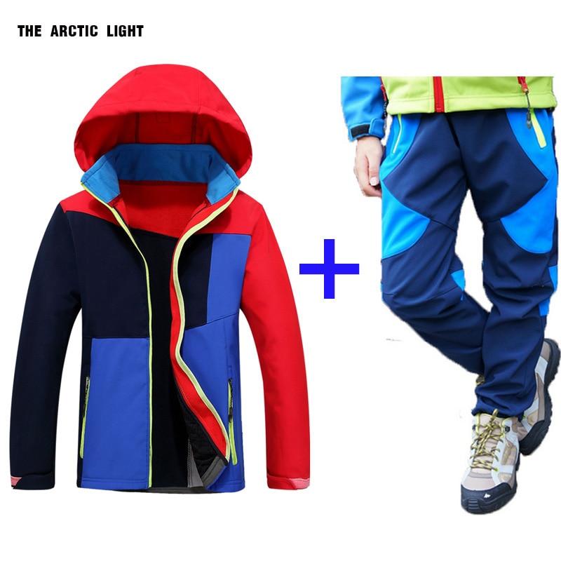 podzimní zimní Dětský kabát a kalhoty set kapuce Lyžařská bunda a kalhoty chlapec dívka větruodolný vodotěsný venkovní kemp turistika