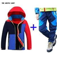 autumn winter Children coat and pants set hood Ski Jacket&pants boy girl windproof waterproof outdoor camping hiking