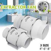 4/6/8inch Exhaustor Fan Wall Window Toilets Mountable Duct Fan Ventilator ABS Steel Removal Ventilate Air Cleaning Kitchen