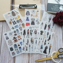 6 Sheets Fashion Show Runway dress designer Design Washi Paper Sticker As Scrapbooking DIY Gift Packing Decoration Tag