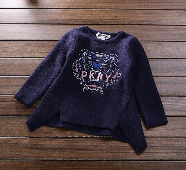 16 colores Niños Niñas Suéter bordado tigre suéteres suéter de la capa Al Por Mayor 2017
