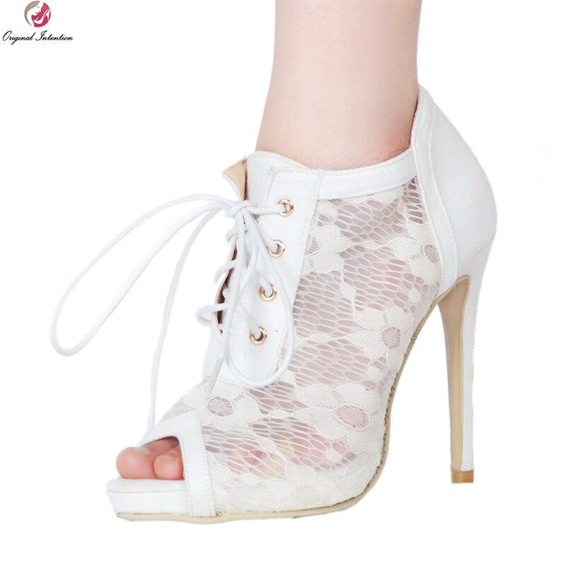 本来の意図エレガントな女性アンクルブーツゴージャスなピープトウシンハイヒール夏ブーツ素敵な白の靴女性プラス Us サイズ 4 15  グループ上の 靴 からの アンクルブーツ の中 1