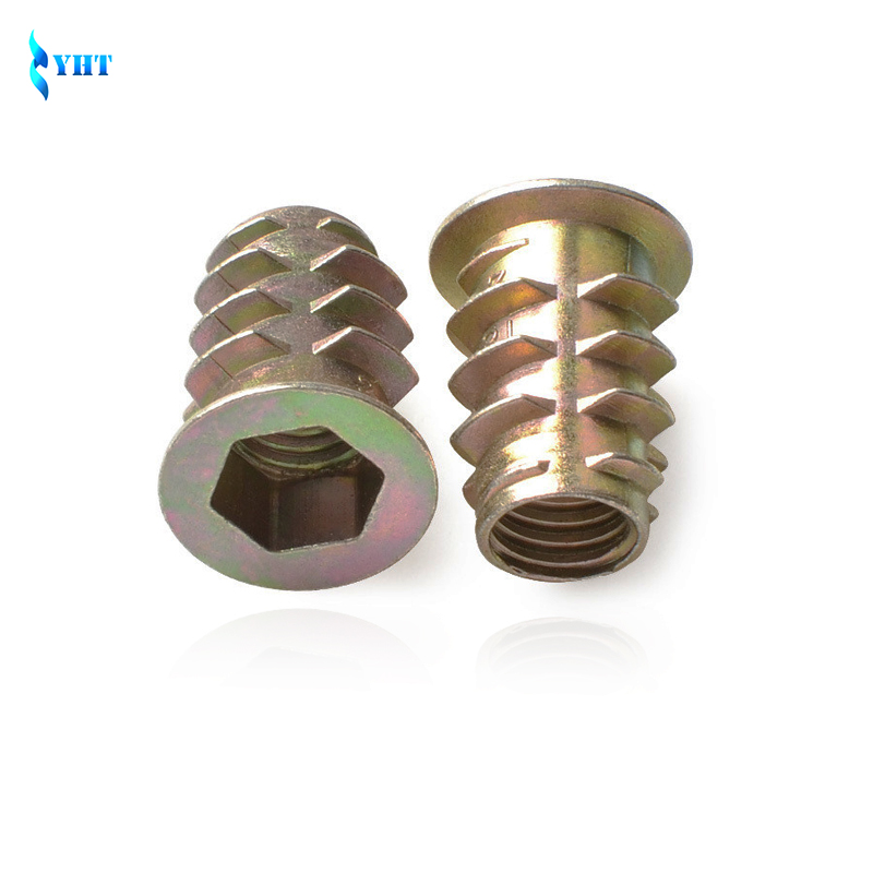 50Pcs M4 M5 M6 M8 Zinc Alloy Thread For Wood Insert Nut Flanged Hex Drive Head Furniture Nuts Inner six angle screws 10 pcs zinc alloy hex drive head screw insert nut threaded for wood m8x15mm