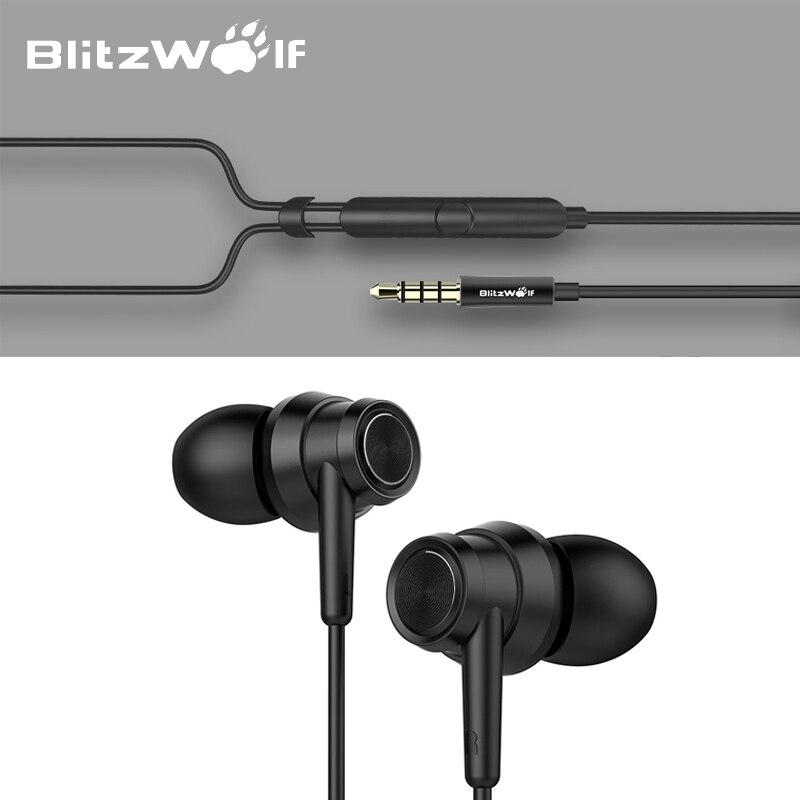 BlitzWolf BW-ES1 3.5mm In-Ear Antibruit Écouteurs Stéréo Écouteurs Graphène Écouteurs Avec Microphone Pour Mobile Téléphone