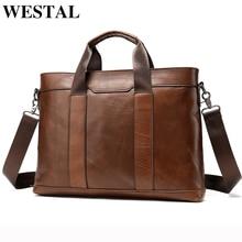 Bolso de cuero auténtico WESTAL para hombre, maletín para hombre, bolso de oficina para hombre, portadocumentos, bolso de cuero para ordenador portátil, casual para hombre 305