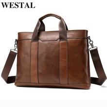 WESTAL mens genuine learther bag mens briefcase handbag offices bag for men porte document leather laptop bag men casual 305
