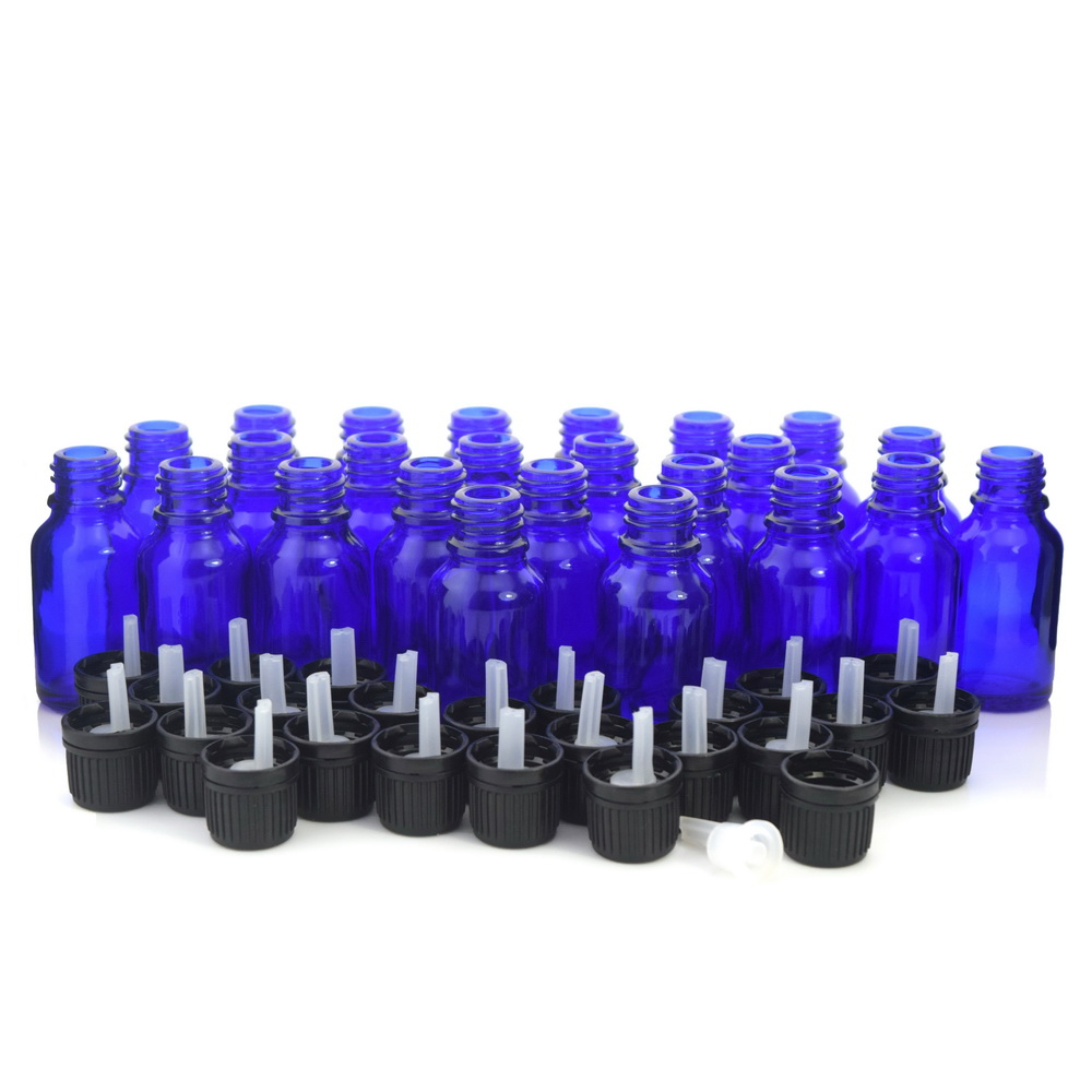 24 X 15ml Cobalt Blue Glass Essential Oil Bottles with orifice reducer euro dropper tamper evident cap for aromatherapy perfume 1pcs 10ml high quality luxe vintage glass dropper bottle for arab perfume mini dropper bottles bronze vintage perfume bottles