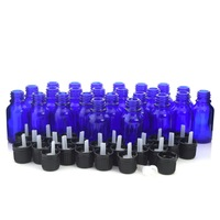 24 X 15ml Cobalt Blue Glass Essential Oil Bottles with orifice reducer euro dropper tamper evident cap for aromatherapy perfume