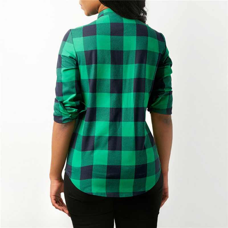 f9ef1f25 ... LASPERAL Women Plaid Shirts 2019 Spring Long Sleeve Blouses Shirt  Office Lady Cotton Lace up Shirt ...