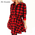 Fashion Autumn Vintage White Black Plaid Print Shirt Dress Women 2016 Sexy 3/4 Sleeve Winter Dresses Office Plus Size Work Wear