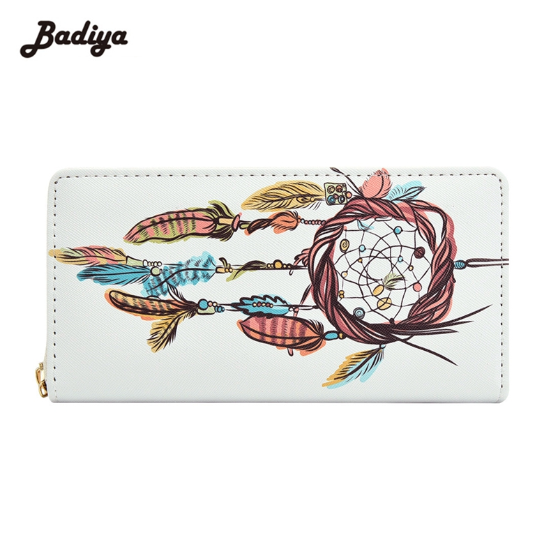 Badiya Fashion Dreamcatcher Print Long Wallet Phone Pocket PU Leather Card Holder Girls Lovely Zipper Coin Purse Female Clutch