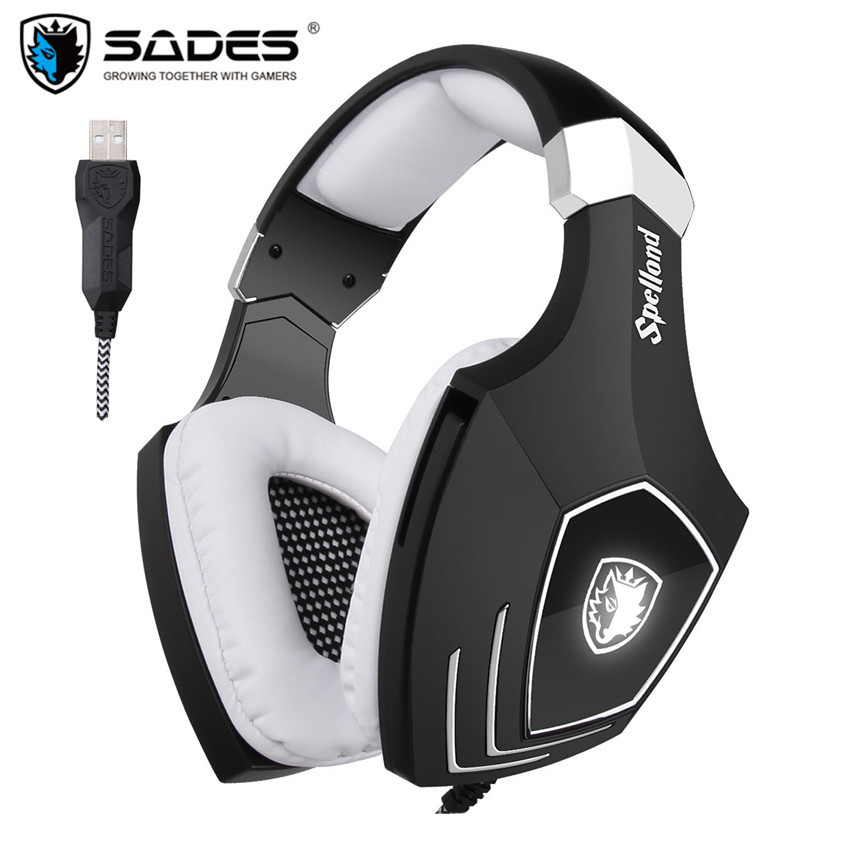 USB Gaming Headphones for Computer Sades A60/OMG Over Ear Stereo PC Gamer Game Headset With Microphone Mic Noise Isolating LED 2017 top quality professional super bass over ear gaming headset with microphone game stereo headphones for gamer pc computer