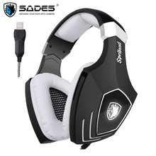 USB Gaming Headphones for Computer Sades A60/OMG Over Ear Stereo PC Gamer Game Headset With Microphone Mic Noise Isolating LED
