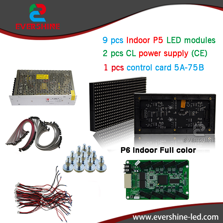 p6 smd indoor full color led display sign 50pcs p6 led  display module+1 pcs led control card+9 pcs CL Power supply A-200-5 free shipping p5 indoor smd 3in1 full color led panel display module 1 16scan 320 320mm