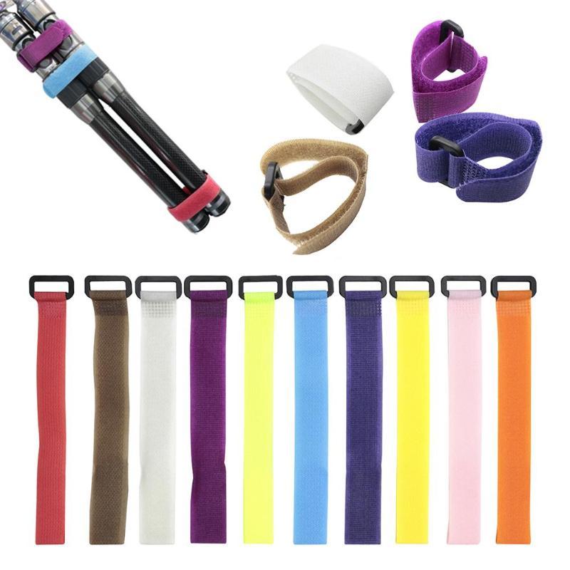 10pcs/lot Reusable Fishing Rod Tie Holder Strap Suspenders Fastener Hook Loop Cable Cord Ties Belt Fishing Accessories