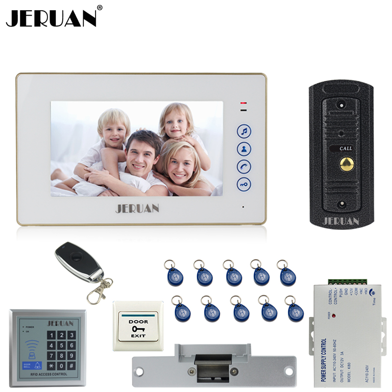 JERUAN 7`` Touch key Video Door phone Intercom System kit 1 Monitor 700TVL IR Pinhole Camera RFID Access Control Cathode lock jeruan home 7 video door phone intercom system kit 1 white monitor metal 700tvl ir pinhole camera rfid access control in stock