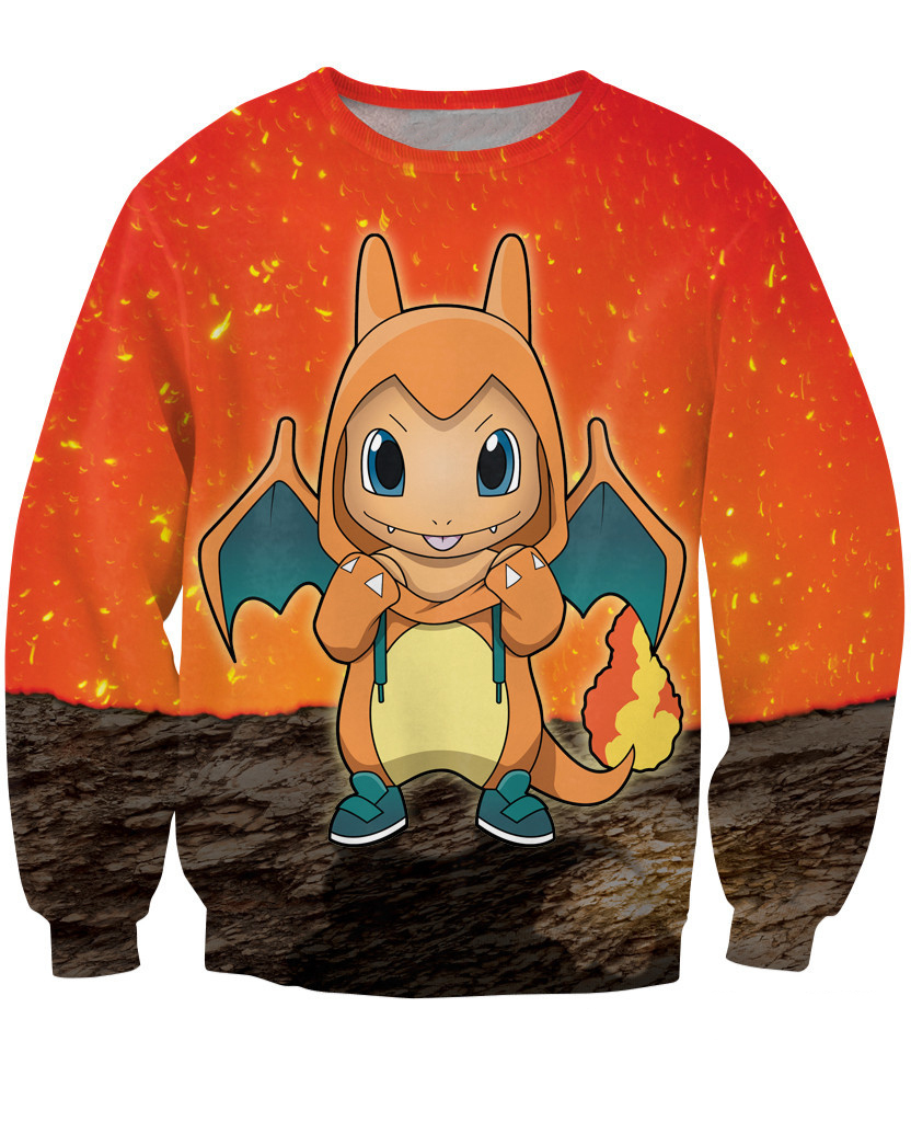 08ccfc282d5 Fashion Sexy Charmander Crewneck Sweatshirt Japanese anime fire starter  Pokemon print Jumper Woman Man 3d birdy Pokemon hoodies-in Hoodies    Sweatshirts ...