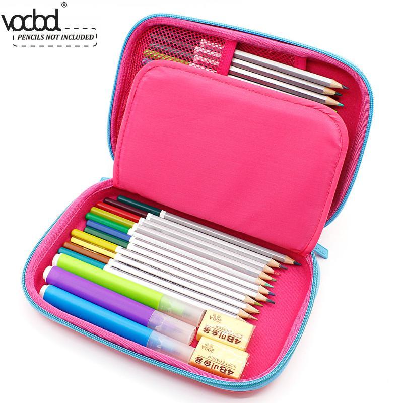 Vodool Eva Cute Pencil Case For School Office Cartoon Fox Large Capacity Stationery Pen Holder Organizer Box Escolar Papelaria