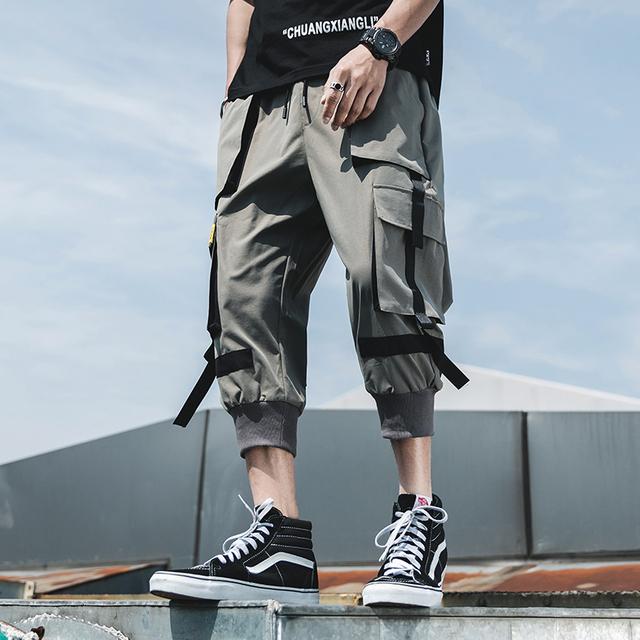 Pants Mens Streetwear Solid Hip Hop Joggers Pants Male Fasions Sweatpants Men Calf-Length Pants