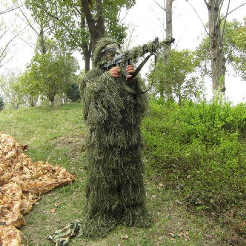 Yowie Sniper costume chasse Gillie costume Camouflage tactique Camo costume chasse Paintball vert herbe Camouflage Ghillie vêtements