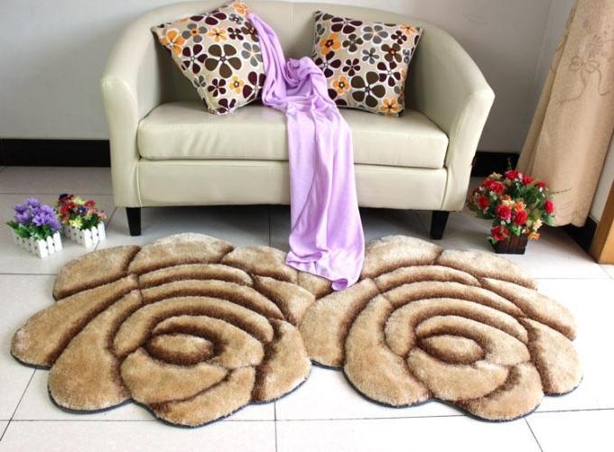 Объемный ворсистый круглый ковер с объемным цветком, коврики для дома, гостиной, свадьбы, тапеты, ворсистые ковры, толстые круглые ковры с цветочным рисунком - Цвет: double cafe