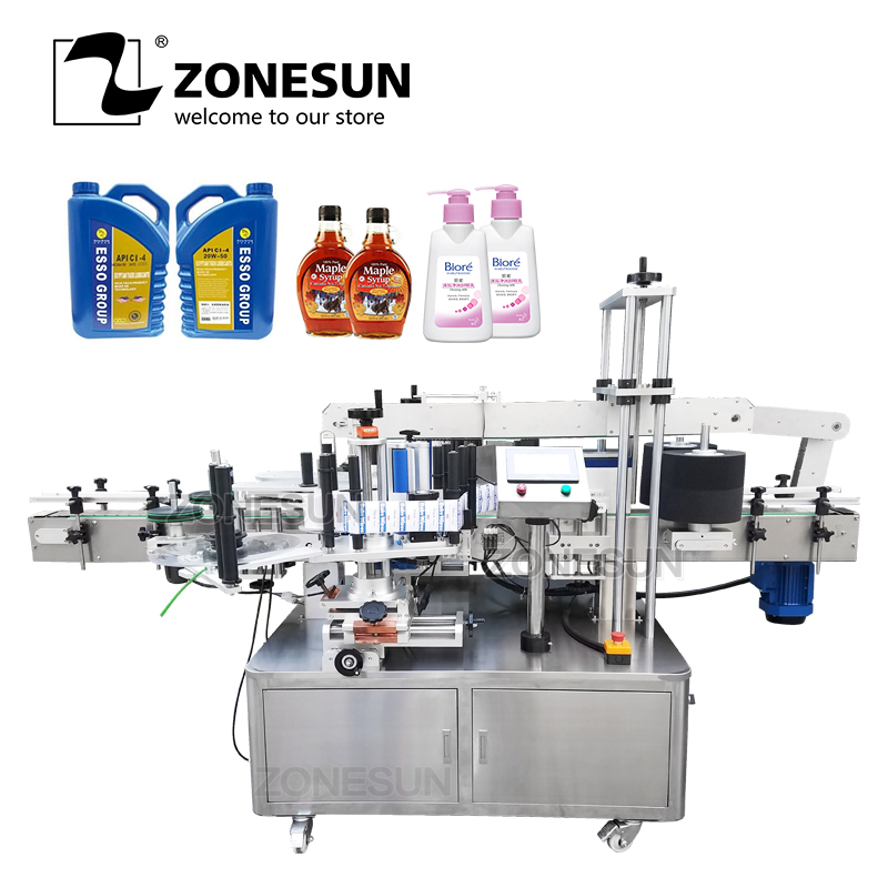 ZONESUN Automatic Double Dual-side Sticker Irregular Square Flat Plastic Bottle Can Jar Cream Labeling Machine Factory Price