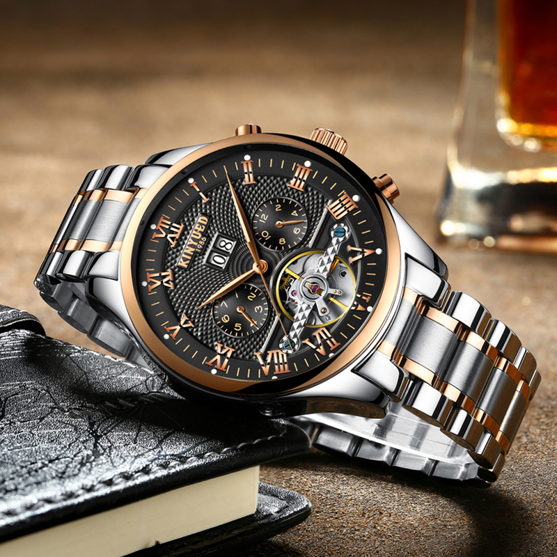 Luxury Fashion Brand KINYUED Watch Men Automatic Self-Wind Mechanical Watches Multifunctional Perpetual Calendar Man Wristwatch цена