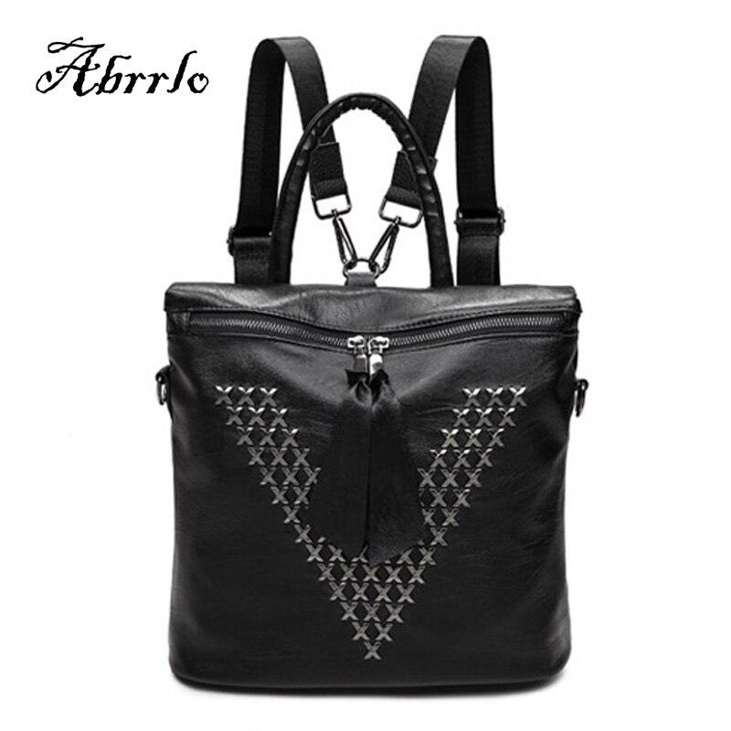 ФОТО Backpack Women Leather Luxury Backpacks Women Bags Designer Female School Shoulder Bag Rivet Nylon Bagpack Mochila WAITMOON