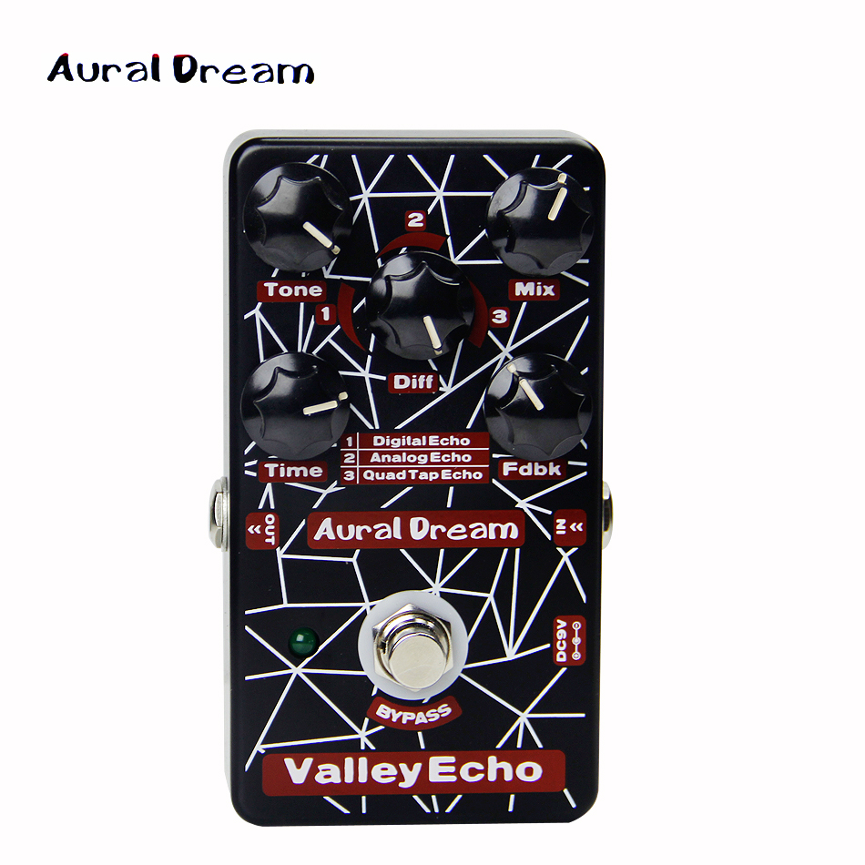 Aural Dream Digital Effect Pedal Digital Five knobs of VALLEY ECHO guitar pedal kaish 10pcs ivory guitar scalloped edge davies 1900h style amp knob effect pedal knobs