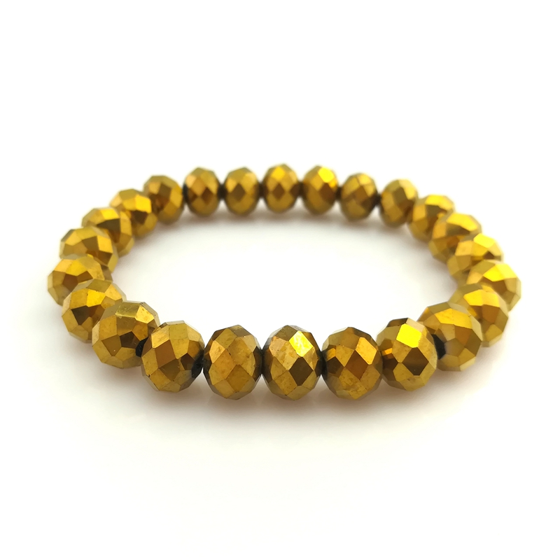 20pcs/lot Gold Color 10mm Faceted Crystal Beaded Bracelet Elastic For Promotion Wholesale