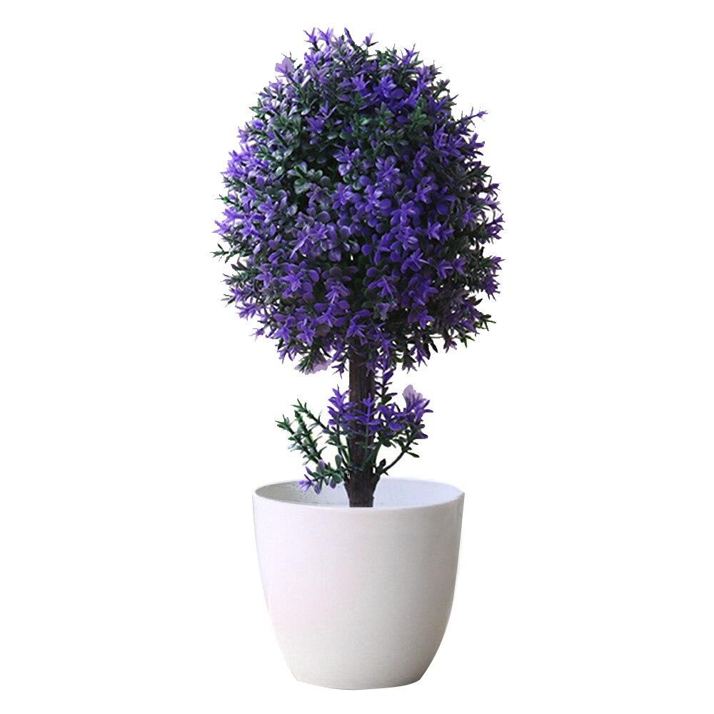 Вечнозеленое дерево для дома, свадьбы, праздника, декоративный искусственный бонсай венок с искусственными цветами искусственный бонсаи искусственный цветок растение дерево - Цвет: purple