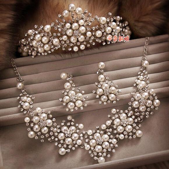 Pérola conjuntos de jóias de noiva strass coroa/colar/brincos conjunto de jóias de pérolas de noiva três-terno pedaço acessórios do casamento