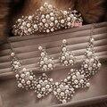 Sistemas de la joyería nupcial rhinestone de la perla de la corona/collar/pendientes de perlas joyería nupcial conjunto de tres piezas juego accesorios de la boda