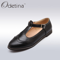 Odetina Classic Black Oxford Brogue Shoes Women British Style Ladies Mary Jane School Shoes 2017 Summer