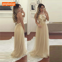 Sexy Light Gold Long Prom Dress Women 2019 Banquet Formal Party Dresses Prom Tulle Lace Slim Fit gongbaolage Club Evening Gown