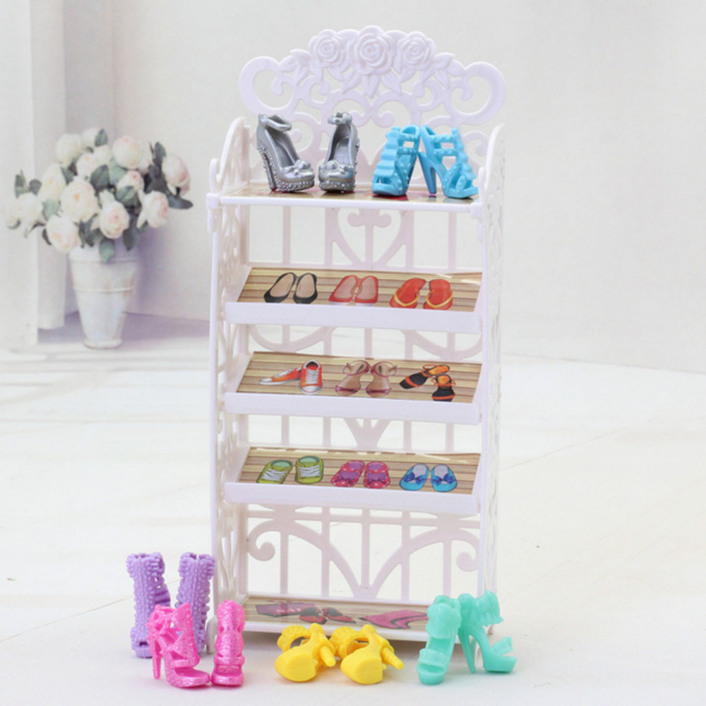 Kids Mini White 5 Layers Shoes Rack Holder Cabinet Dolll House Furniture Dollhouse Playhouse Accessories For Barbie Dolls Toys
