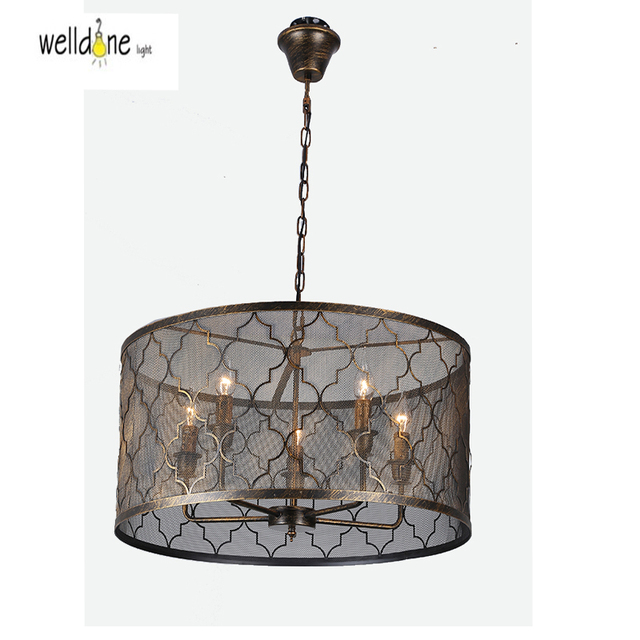 Retro Indoor Lighting Vintage Pendant Light Led Lights Iron Cage Lampshade Warehouse Style Fixture