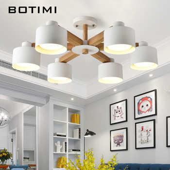 BOTIMI Nordic 220V LED Chandelier With Iron Lampshade For Living Room Modern Wooden White Lustres Wood Foyer Chandelier Lighting