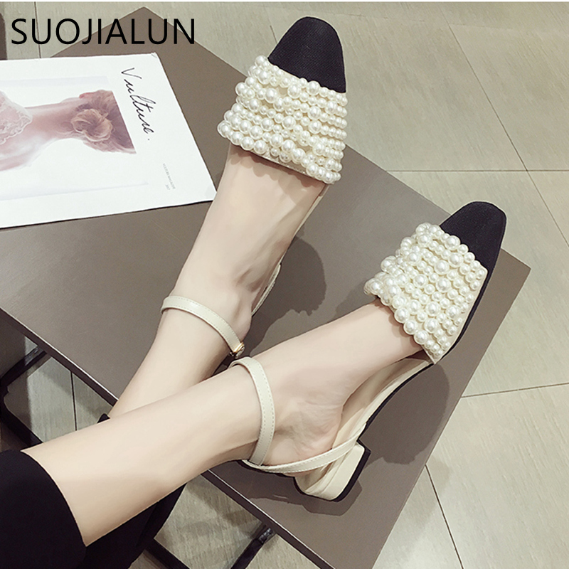 SUOJIALUN 2019 Fashion Brand Women Sandals Summer Flat Shoes Pearl Sandals Ladies String Bead Mules Slides Casual Shoes Sandals
