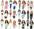 WHOLESALE 200Pcs = 100 Set Mix Lady Girl Outfit Jacket Blouse Vest Shirt Top Pants Skirt Blouse Trousers Clothes For Barbie Doll