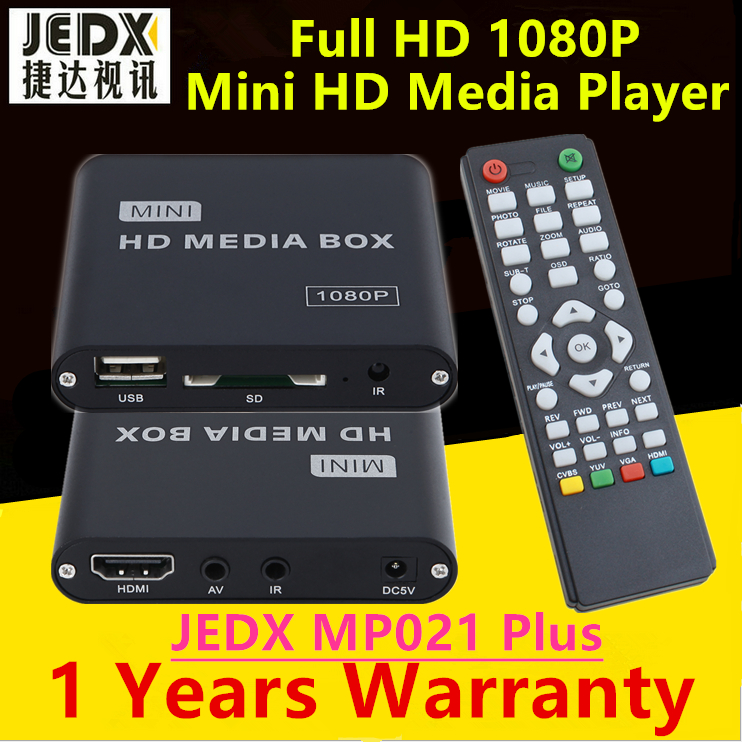 JEDX MP021 Plus 1080p Full-HD Ultra Portable Digital Media Player with IR Extender USB Drives and SD/SDHC Cards Car adapter yatour car digital music cd changer aux mp3 sd usb adapter 17pin connector for bmw motorrad k1200lt r1200lt 1997 2004 radios