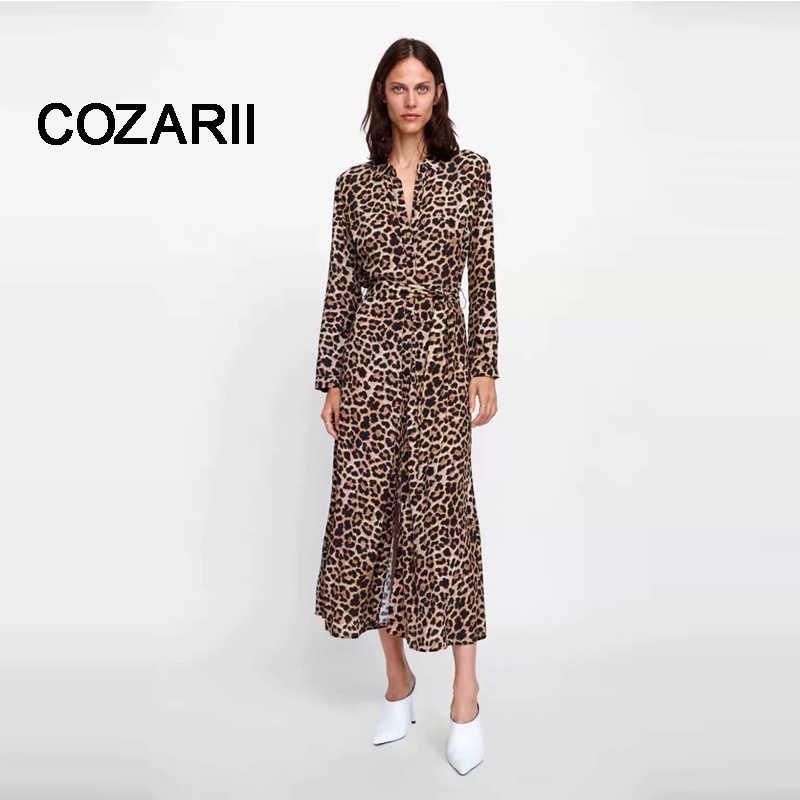 5de0fdb4ce6 ... COZARII Леопардовый принт feminina платье 2018 английский стиль Леопардовый  принт пояса бант отложной воротник миди платье ...